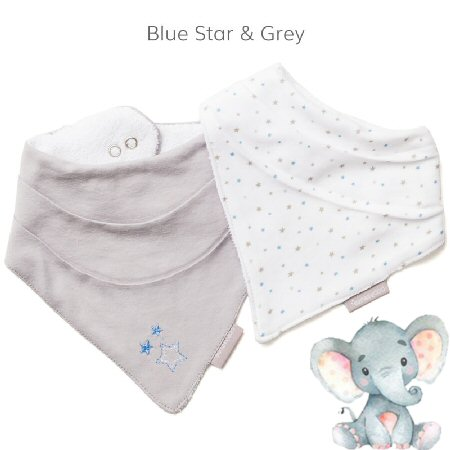 Bandana-Bib-Blue Star and Grey