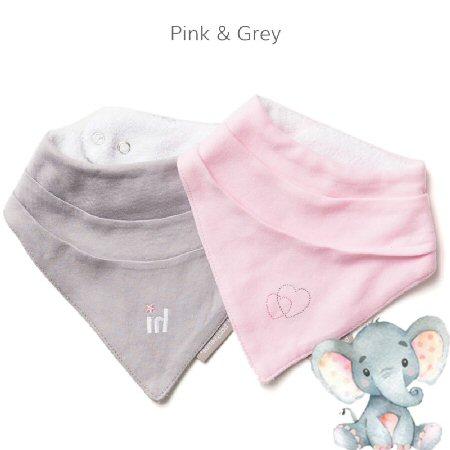 Bandana-Bib-Pink Grey