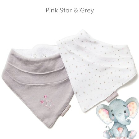 Bandana-Bib-Pink Star and Grey